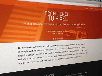 Taecho Site -updated taecho website tag orange white writing brand