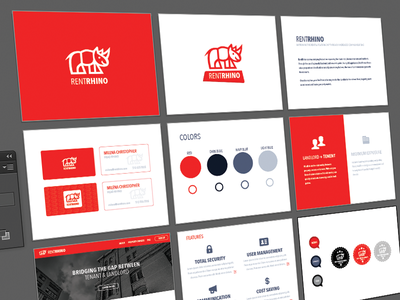RentRhino branding identity icons appartments leasing red tenant