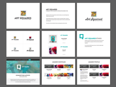 Art Squared branding identity art san marcos gallery artists teal white