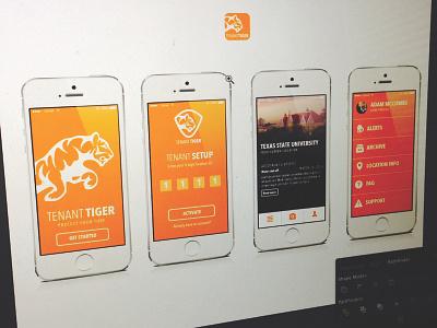 Tenant Tiger - iOS app tenant tiger orange ios app layout checkin photos