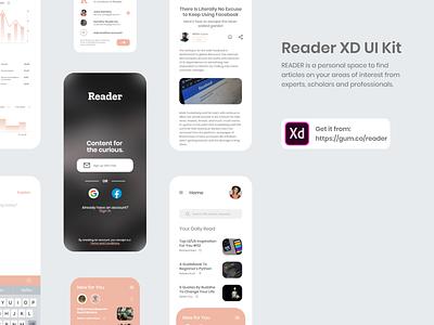 Reader XD UI Kit Freebie article design app design medium mobile app design ui kit uiux user interface ux ui