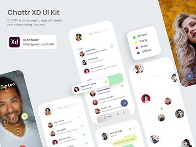 Chattr XD UI Kit Freebie video audio message app mobile ui app uiux user interface ux ui