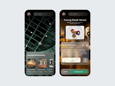 Restaurant Finder - Glassmorphism restaurant glassmorphic neumorphism glass glassmorphism mobile app mobile ui uiux user interface ux ui