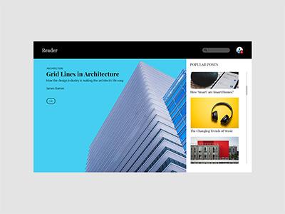 Reader: A Publishing Platform grid blog design user interface website web design ux ui uiux landing page