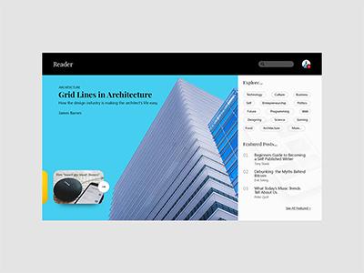 Reader: A publishing platform v2 article blog design user interface website web design ux uiux ui landing page