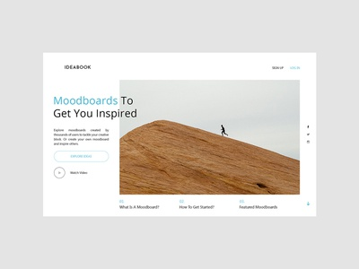 Ideabook Landing Page typography pinterest user interface website web design ux uiux ui landing page