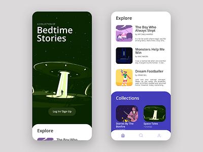 Stories App Concept author writer bed bedtime stories story uiux website mobile app design mobile app user interface ux ui