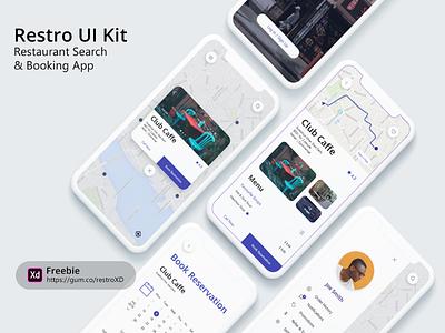 Restro XD UI Kit ui kit freebie booking mobile design restaurant user interface ux ui iphone mobile app design