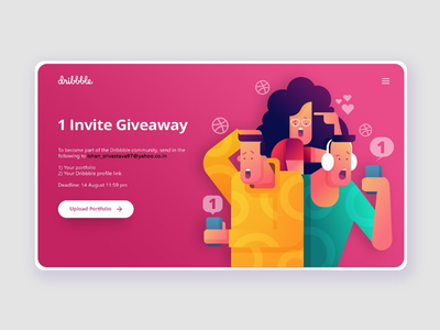 1 Dribbble Invite user experience user interface web design ux ui illustration giveaway invitation dribbble invite invite dribbble