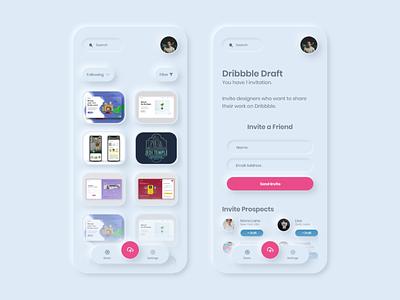 Dribbble Neumorphic App   1 Invite Giveaway
