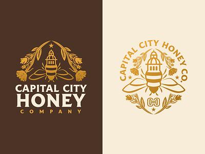 Capital City Honey Company honey flower star capital illustration bee logo