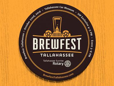 Brewfest Tallahassee logo glass coaster fest brew