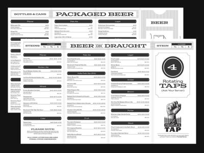 Township ticket menu twp beer township