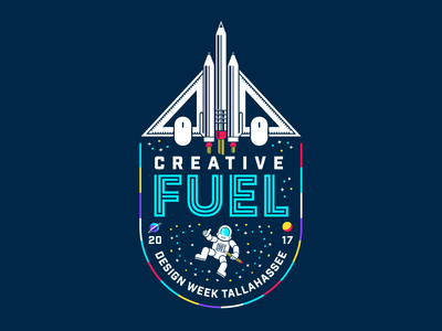 2017 Design Week Tallahassee ufo illustration spaceship planets stars astronaut space