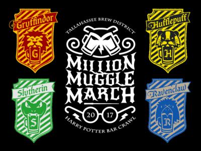 Harry Potter Bar Crawl logo illustration bolt glasses wand beer owl ravenclaw slytherin hufflepuff gryffindor harry potter