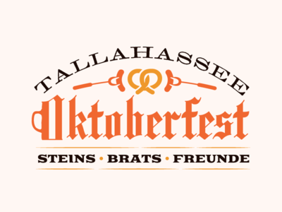 Tallahassee Oktoberfest typography blackletter german logo brat pretzel oktoberfest