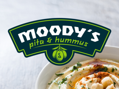 Moody's Pita & Hummus Brand Design typography branding identity logo restaurant food lebanese greek olives hummus pita
