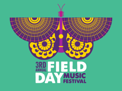 2019 Field Day Music Festival illustration wings sun notes guitar butterfly festival music