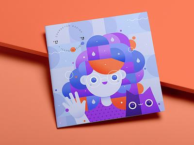 Hello! illustration book vector purple cute cat gillustration girl
