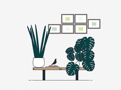 Urban Jungles eames vector sukulent plants illustration ideas graphic digital-art design creative cactus art-direction