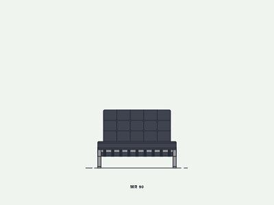 Barcelona (Model MR 90) Chair vector illustration graphic digital-art design creative chair vanderrohe bauhaus 1929