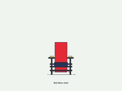 Red Blue Chair vector illustration graphic digital-art design creative chair rietveld