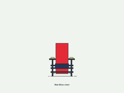 Red Blue Chair vector illustration graphic digital-art design creative chair rietveld