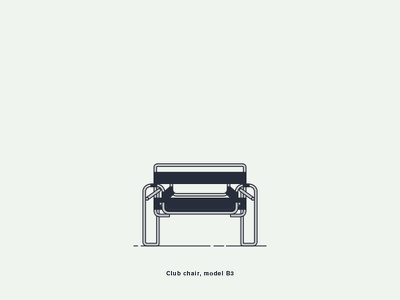 Club chair (model B3) 1927 bauhaus breuer chair creative design digital-art graphic illustration vector