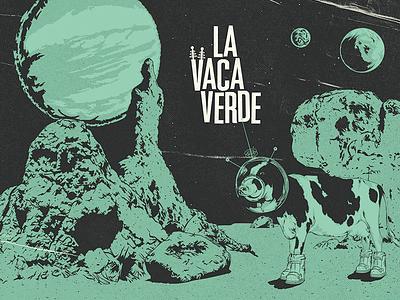 La Vaca Verde Restaurant restaurant green cow illustration fifties sixties vintage design graphic logo