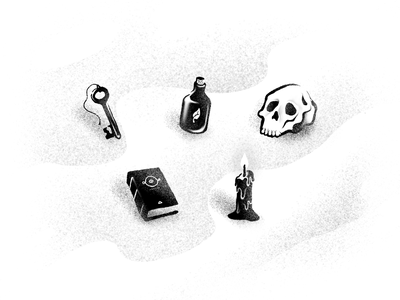 Occult Icons / DeadHead Club witches witch witchy skeleton paranormal occultism jar candle spellbook book key potion occult skull secret society hand drawn procreate