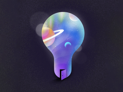 External Innovation colorful door saturn dark space outer space planets planet ideation light bulb innovation idea illustration procreate