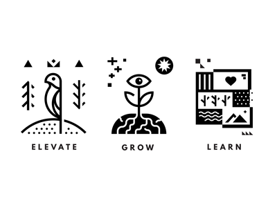 Elevate / Grow / Learn minimalist minimal glyphs icons negative space black and white bird flower vector art vector learn grow elevate