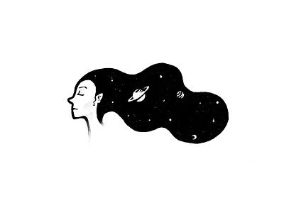 Slumber saturn female woman asleep dreamy dream solar system space mindfulness sleep video animated gif animated procreate