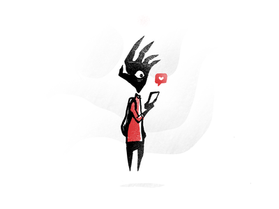 Like Me? procreate art occult secret society drawing illustration concept art like heart instagram iphone phone character design character procreate
