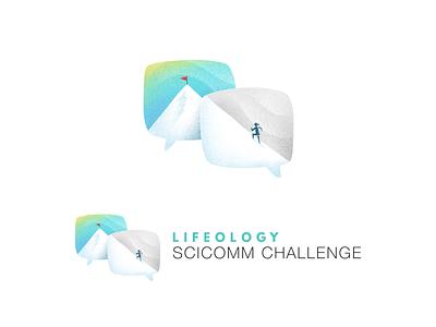SCICOMM Challenge branding challenges challenge climbing mountain chat logo brand design branding hand drawn procreate