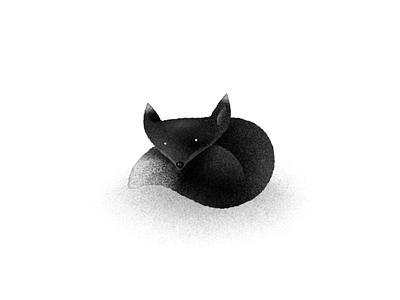 Dark Fox / Blood Fox red red fox hand drawn illustration fur fluffy cute cuddly animal black fox black and white foxes fox procreate