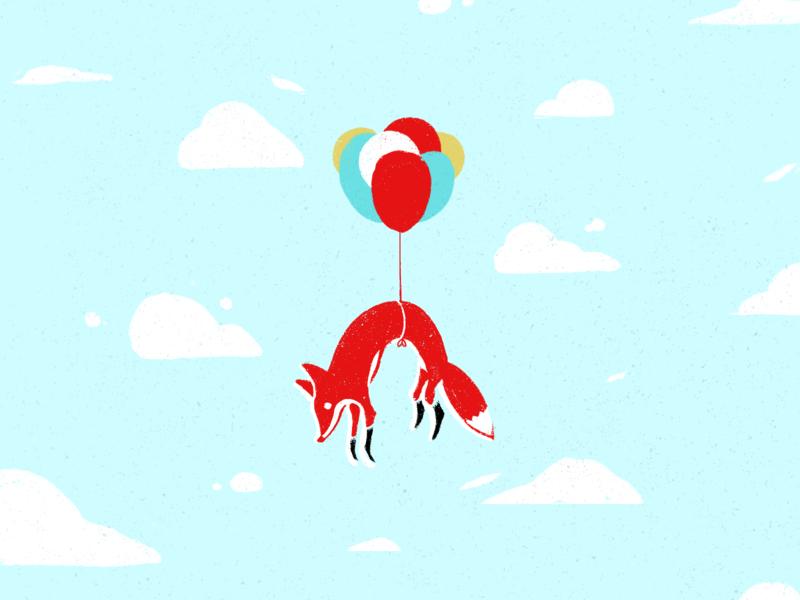 Flying Fox blue sky flying balloons balloon woodland animal fox illustration foxes fox hand drawn illustration procreate