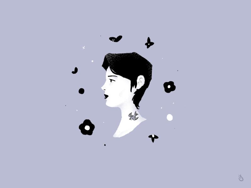 Dark Profile woman tattoo face female illustration hand drawn procreate silouette profile