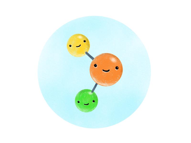 Cute Molecule cute cute art atomic atoms lab scientific science elements dna molecules molecule procreate