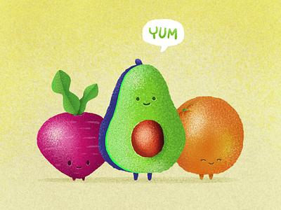 Nutrition fruit vegetarian veggies vegetable beet orange avacado nutritious nutrition illustration procreate