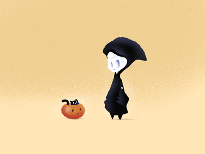 Death and Kitty Halloween dribbbleweeklywarmup designsomethingeveryday reaper cat kitty cat kitty pumpkin grim reaper death halloween hand drawn illustration procreate
