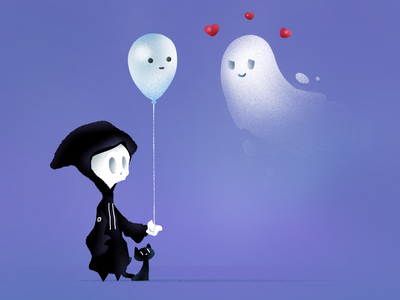 "Death & Kitty: ""Ghost Love"" balloon love halloween black cat kitty cat kitty reaper grim reaper death dribbbleweeklywarmup ghosts ghost"