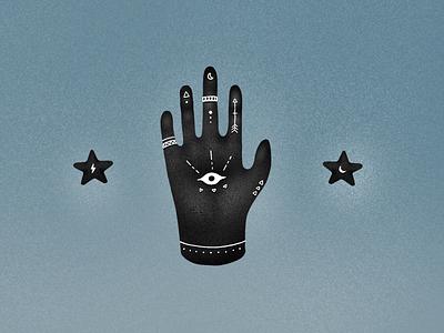 Black Hand dark stars eye hand drawn illustration procreate witch paranormal occult hand black hand