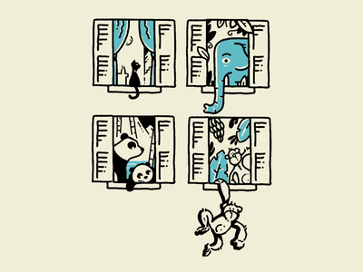 Animal Windows monkeys monkey pandas panda cats cat elephants elephant animal drawing hand drawn illustration procreate