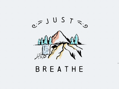 Just Breathe landscape forests forest woods country backcountry bear breathe mountains mountain drawing hand drawn illustration procreate