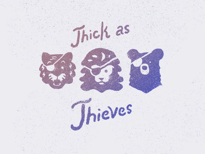 Thick As Thieves wilderness wild animal wildlife wild thief thieves bears bear tiger mascot tigers tiger lion head lions lion animal drawing hand drawn illustration procreate