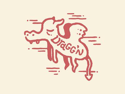 Dragg'n sleeping sleep sleepy tired dragging dragons dragon drag animal drawing hand drawn illustration procreate