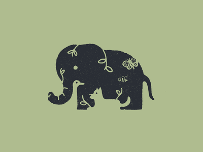 Elephant goose duck dog elephant negative space animal drawing hand drawn illustration procreate