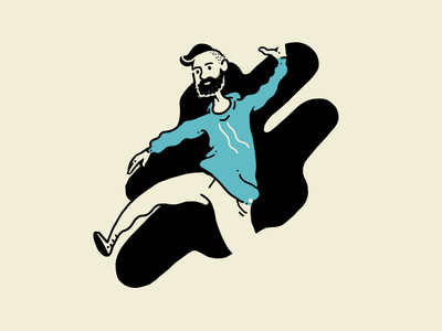 Step In beard stepping step man negative space drawing hand drawn illustration procreate