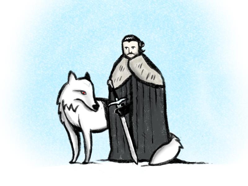Jon Snow sketch character art wolf illustration jon snow game of thrones
